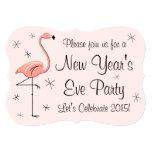 "Flamingo Pink 'New Year Party' invitation bracket 5"" X 7"" Invitation Card"