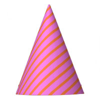 Flamingo Pink & Orange Pretty Stripe Patterned Party Hat