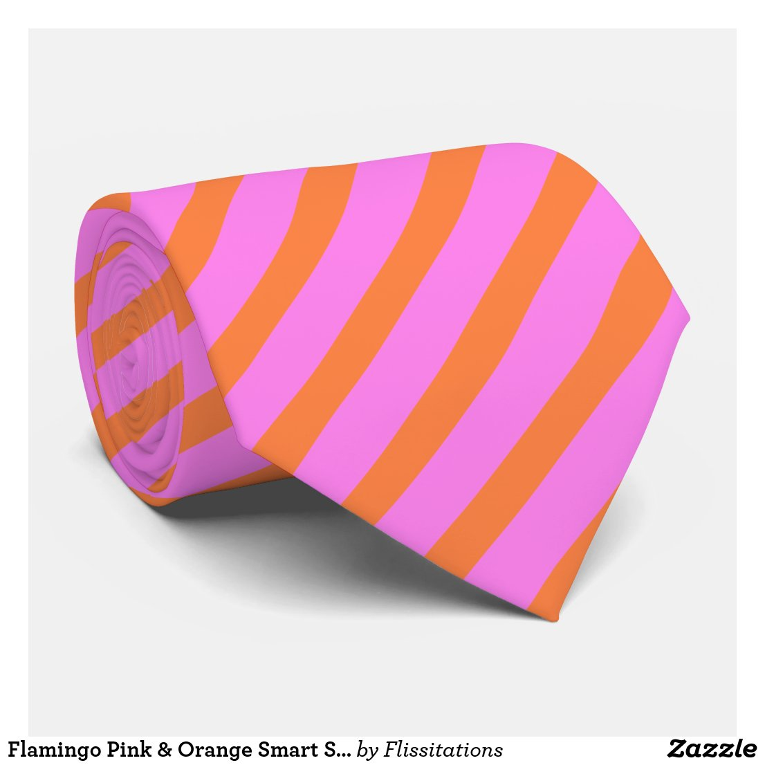 Flamingo Pink & Orange Smart Stripe Patterned Tie