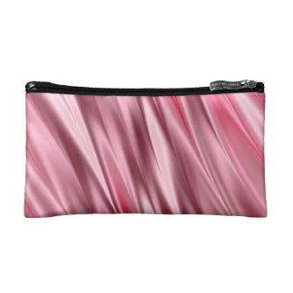 Flamingo pink satin shaded stripes makeup bag