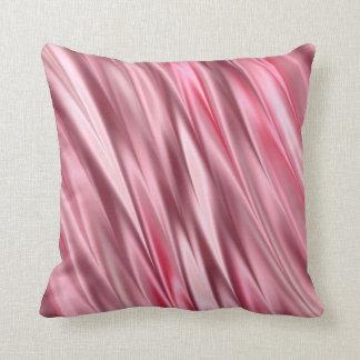 Flamingo pink satin shaded stripes throw pillow
