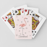 "Flamingo Pink Text playing cards<br><div class=""desc"">Stylish design with a retro touch featuring a flamingo and stars on a pink background. A customizable design for you to personalise with your own text,  images and ideas. An original digital art image created by QuirkyChic.</div>"