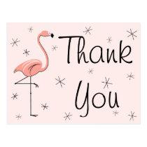 "Flamingo Pink ""Thank You"" postcard"