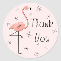 Flamingo Pink Thank You sticker