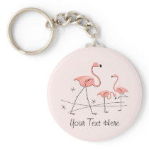 Flamingo Pink Trio 2 Text key chain