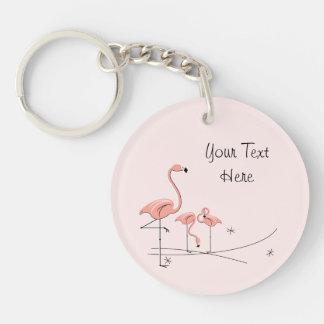 Flamingo Pink Trio 4 Text acrylic key chain