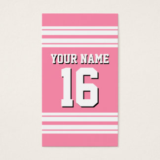 Flamingo Pink White Team Jersey Custom Number Name Business Card