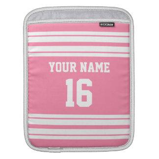 Flamingo Pink White Team Jersey Custom Number Name iPad Sleeve