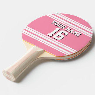 Flamingo Pink White Team Jersey Custom Number Name Ping-Pong Paddle