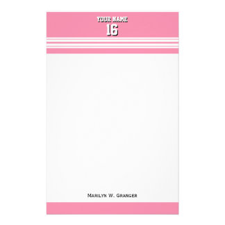 Flamingo Pink White Team Jersey Custom Number Name Stationery