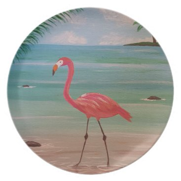 Beach Themed flamingo plate