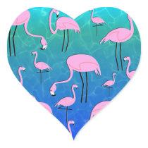 Flamingo Pond Heart Sticker