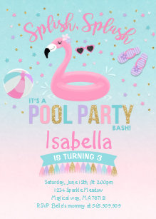 flamingo pool party invitations zazzle