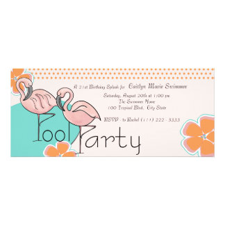 Flamingo Pool Party Custom Invites