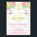 "Flamingo Pool party invitation Tropical<br><div class=""desc"">♥ A perfect way to invite your guests to your Pool Party!</div>"