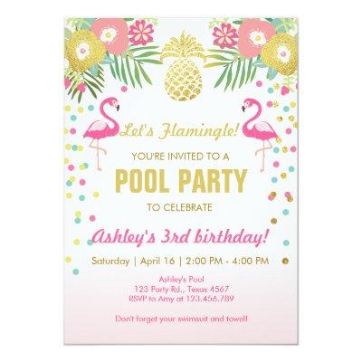 Delightful Flamingo Party Invitation Tropical Birthday Luau | Zazzle.com