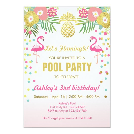 Flamingo Pool Party Invitation Tropical  ZazzleCom