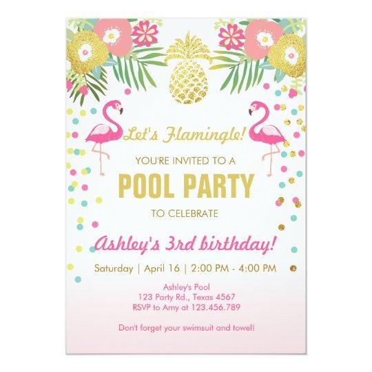 Flamingo Pool Party Invitation Tropical Amazing Ideas