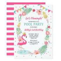 Flamingo Pool party invitation Tropical Birthday