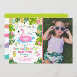 Flamingo Pool Party Invitation Tropical Flamingo