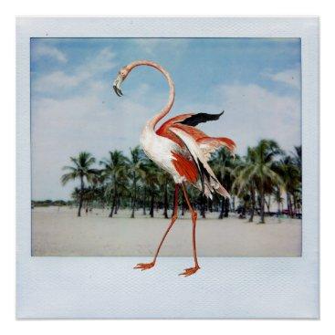 Beach Themed Flamingo Poster