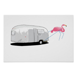 Flamingo pulling posters