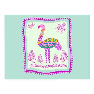 Flamingo Quilt Postcard