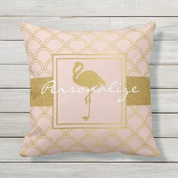 Beach Themed Flamingo Retro Pink and Faux Gold Cool Modern Throw Pillow
