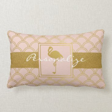Beach Themed Flamingo Retro Pink and Faux Gold Personalized Lumbar Pillow