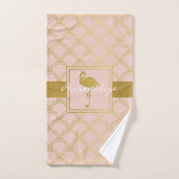 Beach Themed Flamingo Retro Pink and Faux Gold Vintage Bath Towel Set