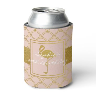 Beach Themed Flamingo Retro Pink and Faux Gold Vintage Can Cooler