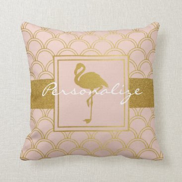 Beach Themed Flamingo Retro Pink and Faux Gold Vintage Throw Pillow
