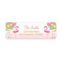 Flamingo Return Address Label Tropical Aloha Luau