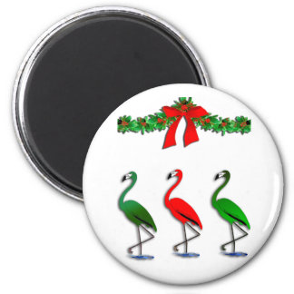Flamingo Rockettes Dancing Show 2 Inch Round Magnet