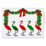 Flamingo Rockettes Dancing Show Greeting Card