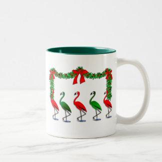 Flamingo Rockettes Dancing Show Two-Tone Coffee Mug