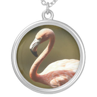Flamingo Round Pendant Necklace