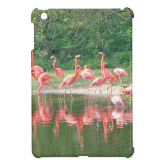 Flamingo Row at Lake in Spring,Birds Pink Wildlife Case For The iPad Mini