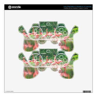 Flamingo Row at Lake in Spring,Birds Pink Wildlife Decal For PS3 Controller