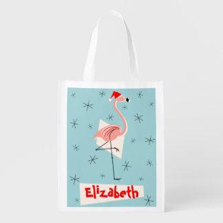 Flamingo Santa Blue Name reusable bag