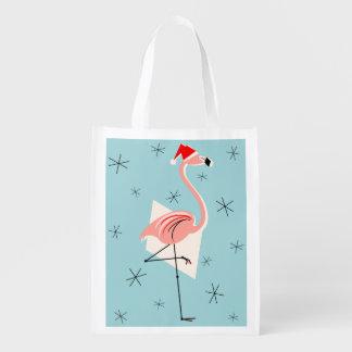 Flamingo Santa Blue reusable bag