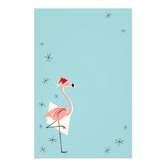 Flamingo Santa Blue stationery