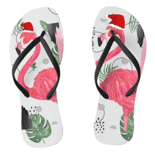 Flamingo Santa, Christmas in July, Santa Hat Flip Flops