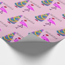 Flamingo Santa Pink Christmas Wrapping Paper