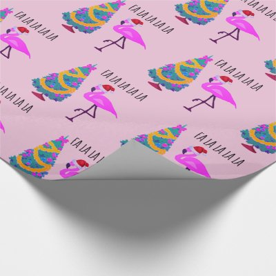 pink flamingo tropical christmas wrapping paper zazzlecom - Pink Christmas Wrapping Paper