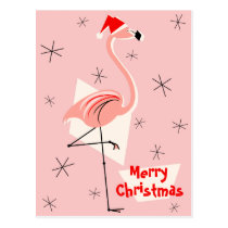 Flamingo Santa Pink Merry Christmas portrait Postcard