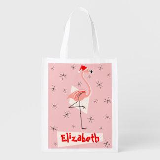 Flamingo Santa Pink Name reusable bag