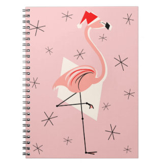 Flamingo Santa Pink notebook