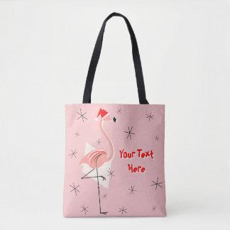 Flamingo Santa Pink Text all over tote bag