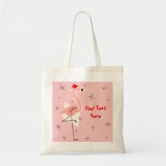 Flamingo Santa Pink Text tote bag